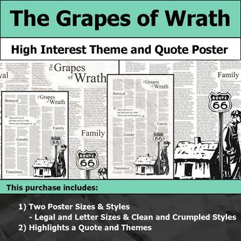The Grapes of Wrath - Visual Theme and Quote Poster for Bulletin Boards
