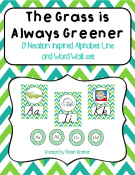 The Grass is Always Greener D'NEALIAN Style Alphabet Line and Word Wall Set