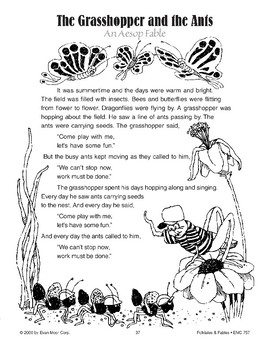 graphic relating to The Ant and the Grasshopper Story Printable identify The Grhopper And The Ant Fables Worksheets Instruction