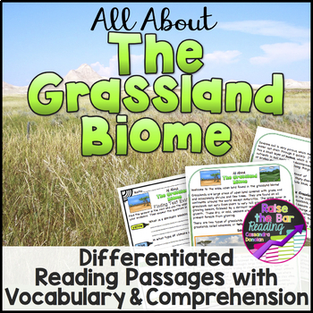 The Grassland Biome Reading Passages (3 levels), Vocabulary & Comprehension