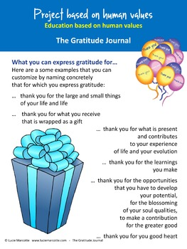 The Gratitude Journal - A project based on human values