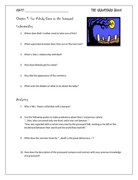 The Graveyard Book Chapter 1 Study Questions for Novel Unit