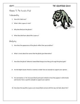 The Graveyard Book Chapter 3 Study Questions for Novel Unit