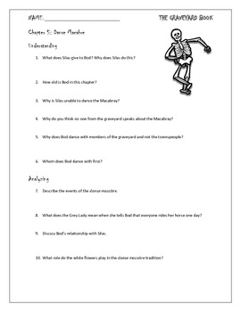 The Graveyard Book Chapter 5 Study Questions for Novel Unit