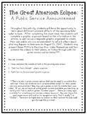The Great American Eclipse: A Public Service Announcement