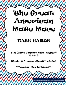 The Great American Rate Race Task Card Activity