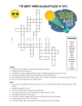 The Great American Solar Eclipse of 2017 Crossword Puzzle