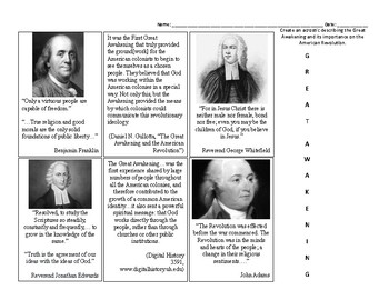 The Great Awakening Quotes and Acrostic