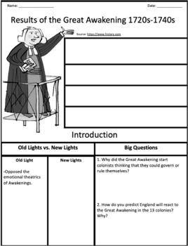 The Great Awakening: Reading, Graphic Organizer, and Questions