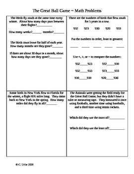 The Great Ball Game ~ Math Activity Sheets ~ HM® Reading ~ 2nd Grade