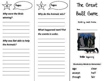 The Great Ball Game Trifold - Storytown 2nd Grade Unit 2 Week 3
