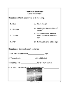 The Great Ball Game activities