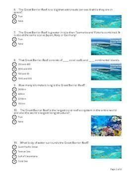 The Great Barrier Reef: Socrative Quiz