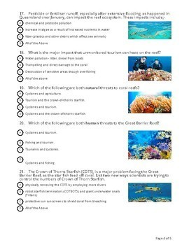 The Great Barrier Reef - 'Socrative' Review Quiz