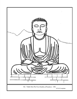 The Great Buddha of Kamakura.  Coloring page and lesson plan ideas
