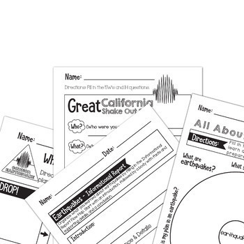 The Great California Shake Out - Earthquake - Thinking Maps - Bundle