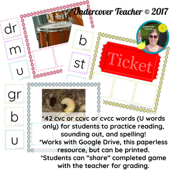 The Great CVC Game (U Words Only) Paperless, Digital