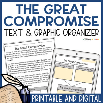 The Great Compromise- The Virginia & New Jersey Plans (Worksheet and Key)