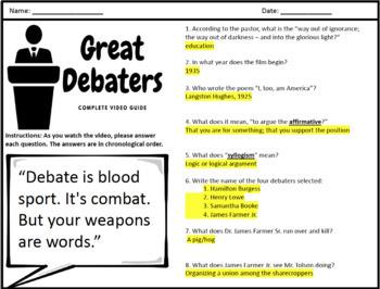 The Great Debaters - Complete Movie Guide & Debate Graphic Organizer