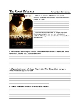 the great debaters movie quiz and writing prompt tpt the great debaters movie quiz and writing prompt