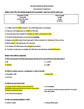 The Great Depression by the Numbers Comprehension Assessment (SS5H5)