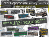The Great Depression - 12 primary sources and other activities BUNDLE