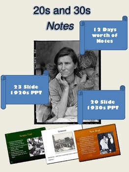 The Great Depression: 20s and 30s Notes
