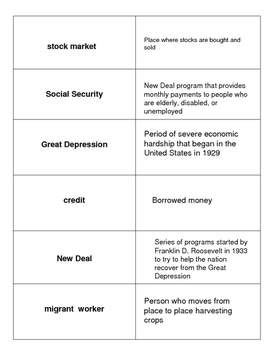The Great Depression Academic Vocabulary for Social Studies Match Ups