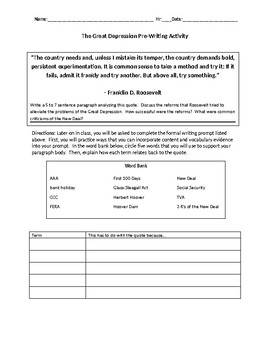 The Great Depression Argument-Based Writing Prompt