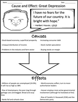 The Great Depression: Cause and Effect Graphic Organizer