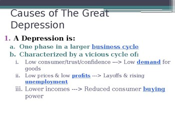 The Great Depression Causes PowerPoint Lecture