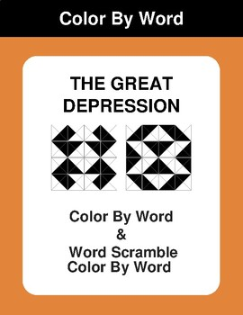 The Great Depression - Color By Word & Color By Word Scramble Worksheets