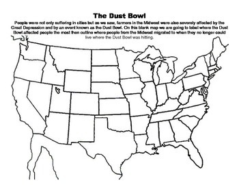 The Great Depression-Dust Bowl Map Exercise