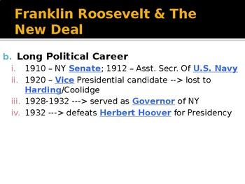 The Great Depression Franklin Roosevelt PowerPoint Lecture