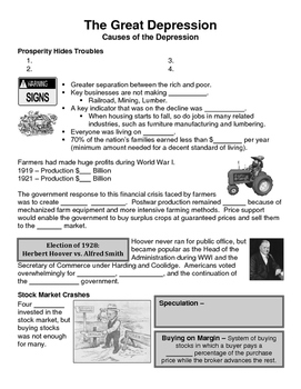 21 - The Great Depression - Scaffold/Guided Notes (Blank and Filled-In)