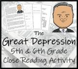 The Great Depression - 5th Grade & 6th Grade Close Reading