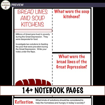 Great Depression Interactive Notebook Graphic Organizers on the Great Depression