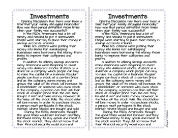 The Great Depression: Investments