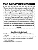 The Great Depression/New Deal Project Based Learning Activity