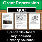 The Great Depression & New Deal Quiz - US History TEXAS ST