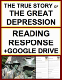 The Great Depression Nonfiction Reading Response, Answer Key + GoogleDoc