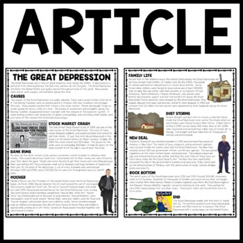 The Great Depression Overview Reading Comprehension Worksheet, No-Prep
