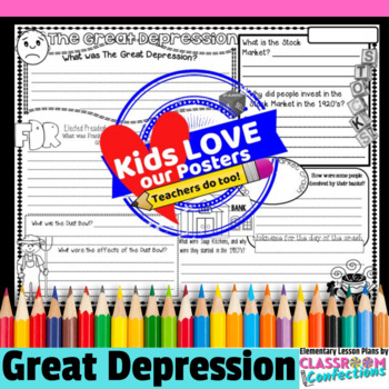 Elementary Students With Depression >> The Great Depression Activity Poster By Elementary Lesson Plans Tpt