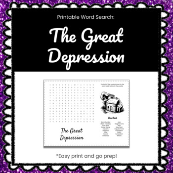 The Great Depression Printable Word Search Puzzle