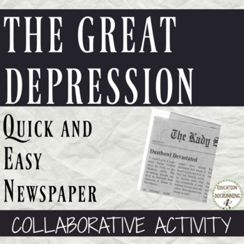 Great Depression Quick and Easy Newspaper Activity for Great Depression Unit
