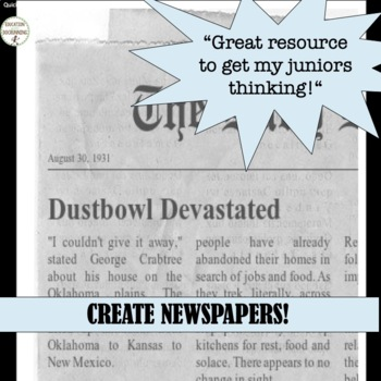 Great Depression Quick and Easy Newspaper Activity UPDATED