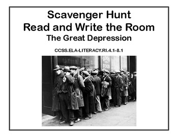 The Great Depression- Read and Write The Room Scavenger Hunt