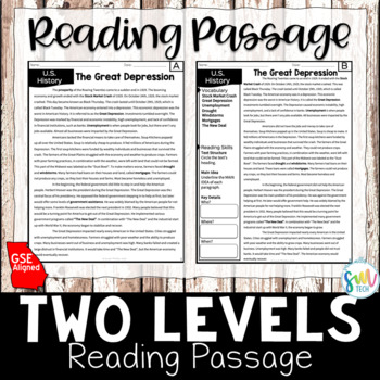 The Great Depression Reading and Writing Activity (SS5H3)