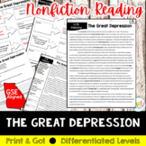 The Great Depression Reading and Writing Activity (SS5H3, SS5H3a)
