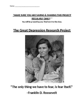 The Great Depression Research Based Project